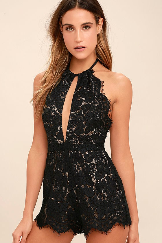 569ece45bfc7 Emergent Blooms Black Lace Romper