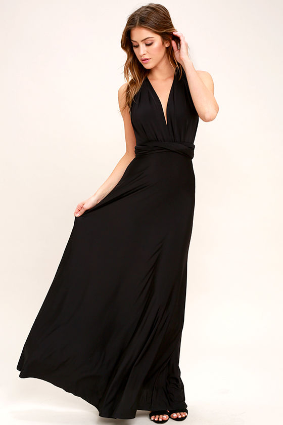 Pretty Maxi Dress - Convertible Dress - Black Dress - Infinity ...