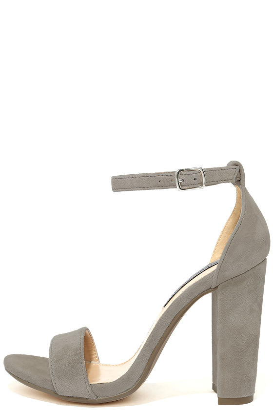 05b19600bce Steve Madden Carrson Taupe Suede Leather Ankle Strap Heels