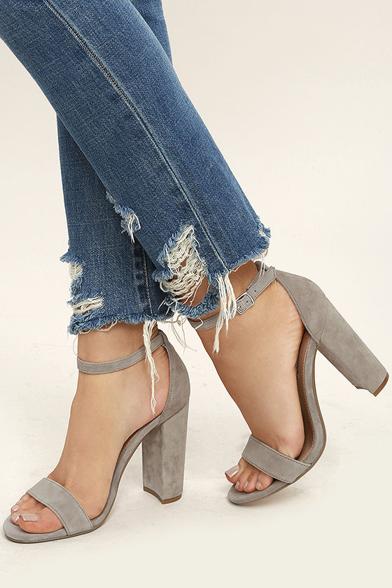 Steve Madden Carrson Taupe Suede Leather Ankle Strap Heels 2