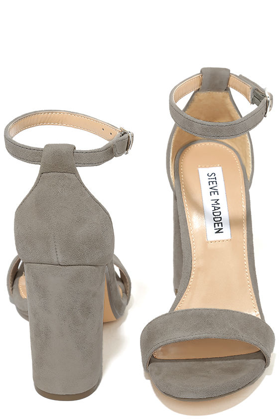 Steve Madden Carrson Taupe Suede Leather Ankle Strap Heels 3