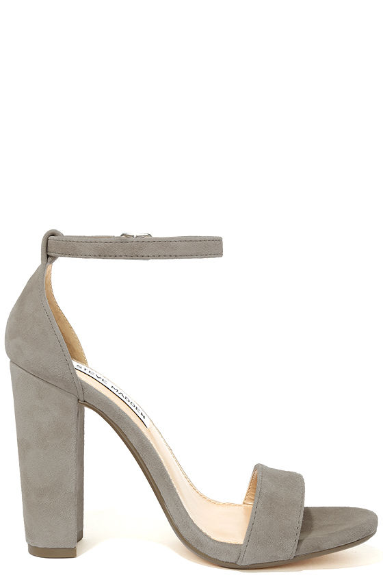 Steve Madden Carrson Taupe Suede Leather Ankle Strap Heels 4