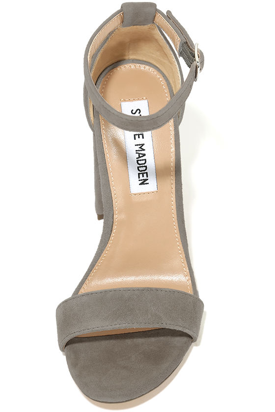 Steve Madden Carrson Taupe Suede Leather Ankle Strap Heels 5