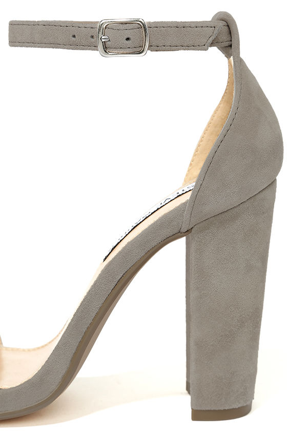 Steve Madden Carrson Taupe Suede Leather Ankle Strap Heels 7