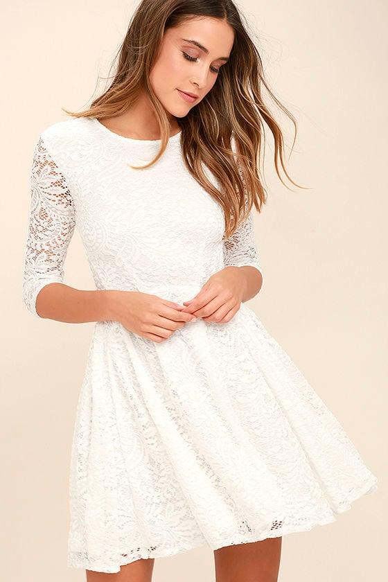 lovely white dress lace dress skater dress 6800