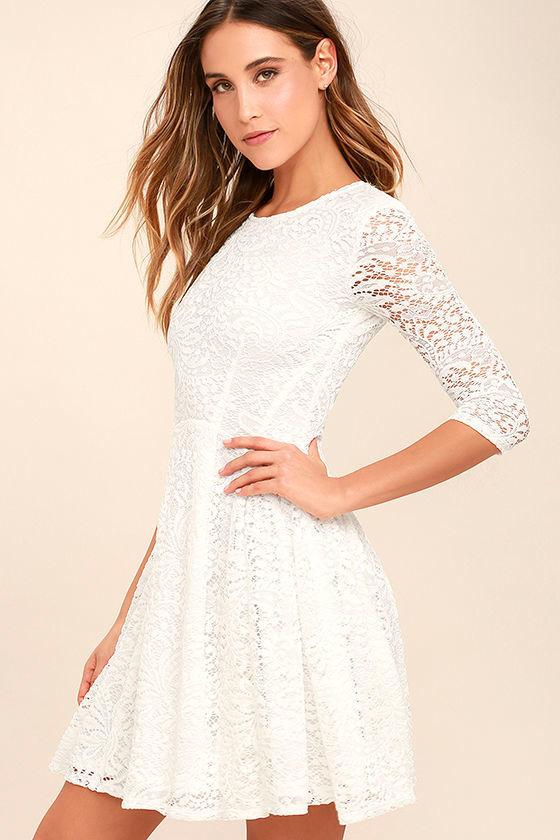 Lovely White Dress - Lace Dress - Skater Dress - $68.00