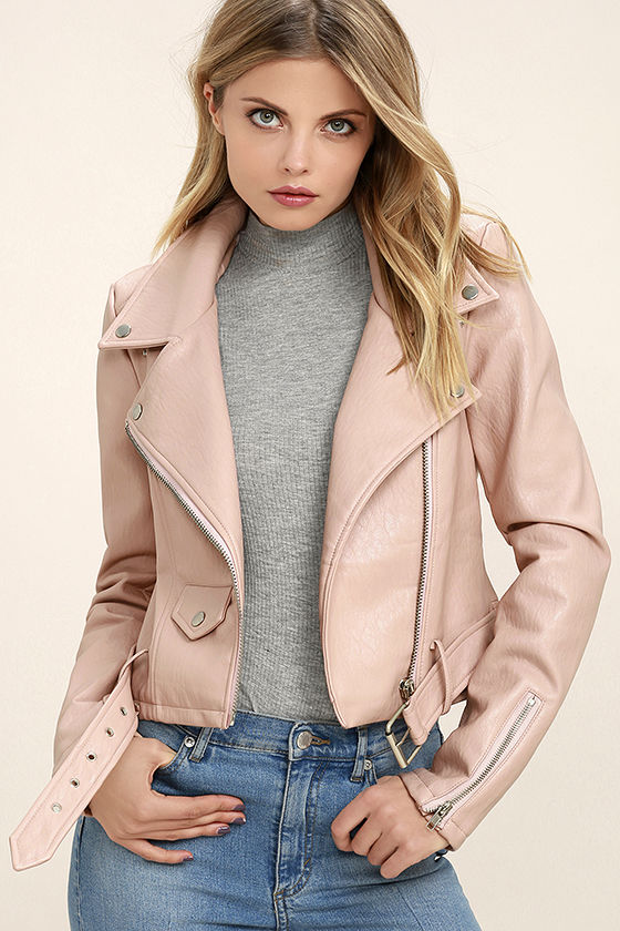 Tough Girl Blush Pink Vegan Leather Moto Jacket 3