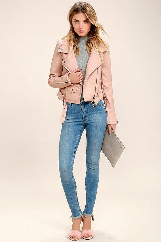 Tough Girl Blush Pink Vegan Leather Moto Jacket 2