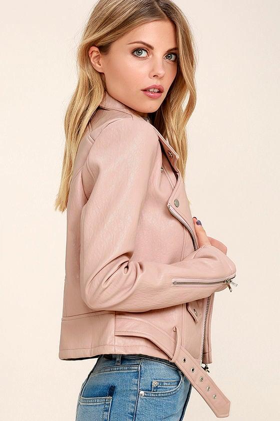 Tough Girl Blush Pink Vegan Leather Moto Jacket 1