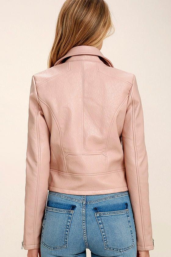 Tough Girl Blush Pink Vegan Leather Moto Jacket 4