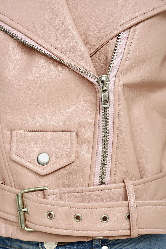 Tough Girl Blush Pink Vegan Leather Moto Jacket 6