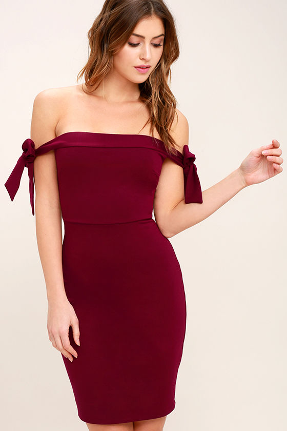 a08d60500e5d Sexy Wine Red Dress - Off-the-Shoulder Dress - Bodycon Dress -  52.00