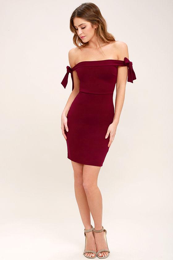 a08d60500e5d Sexy Wine Red Dress - Off-the-Shoulder Dress - Bodycon Dress -  52.00