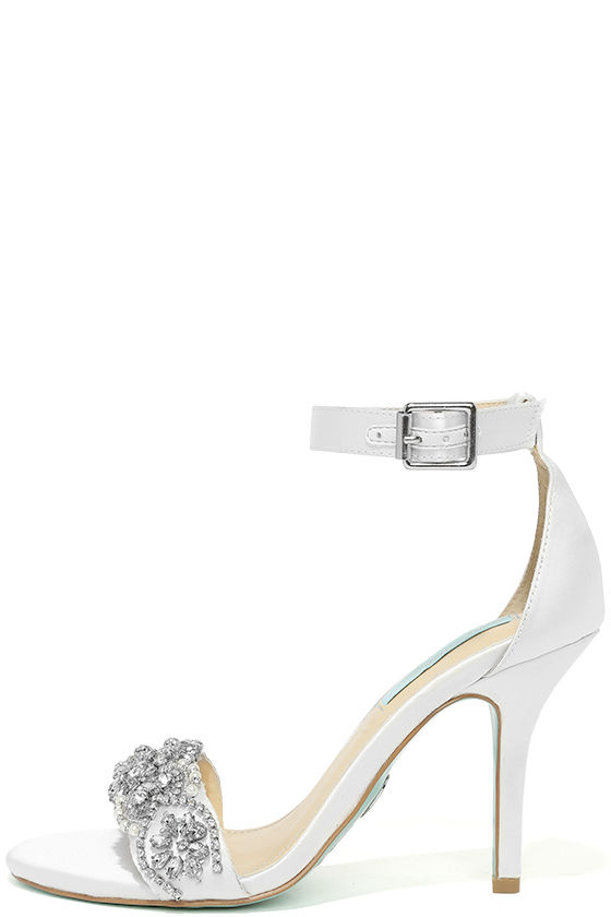 Blue by Betsey Johnson Gina Ivory Satin Ankle Strap Heels 1