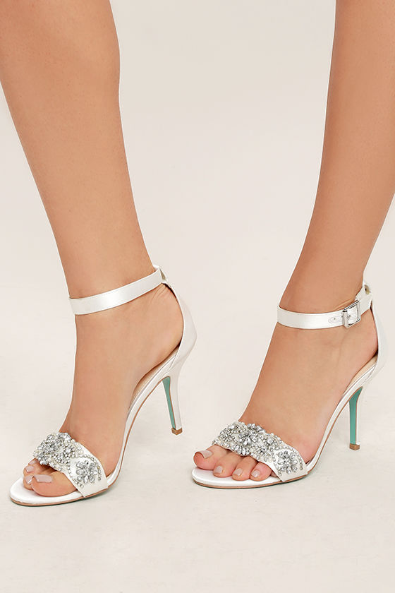 69f909bcab9 Blue by Betsey Johnson Gina - Ivory Satin Heels - Ankle Strap Heels ...