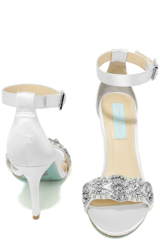 Blue by Betsey Johnson Gina Ivory Satin Ankle Strap Heels 3