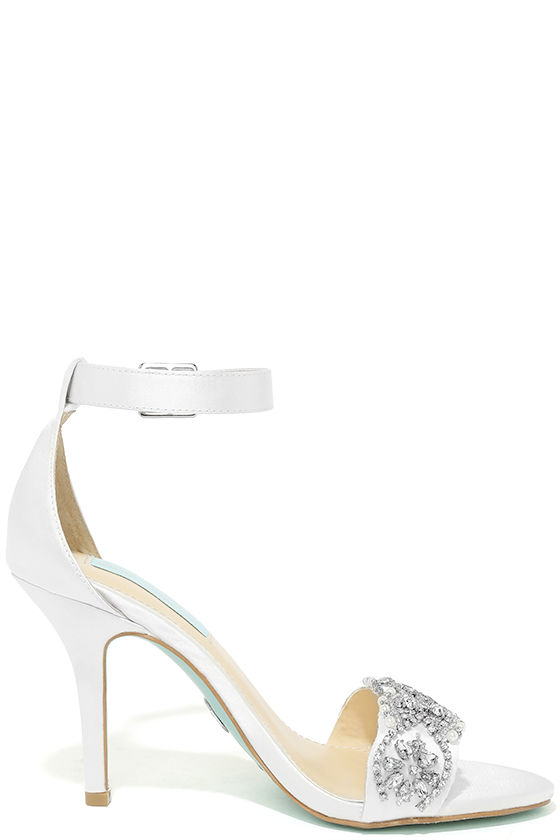Blue by Betsey Johnson Gina Ivory Satin Ankle Strap Heels 4
