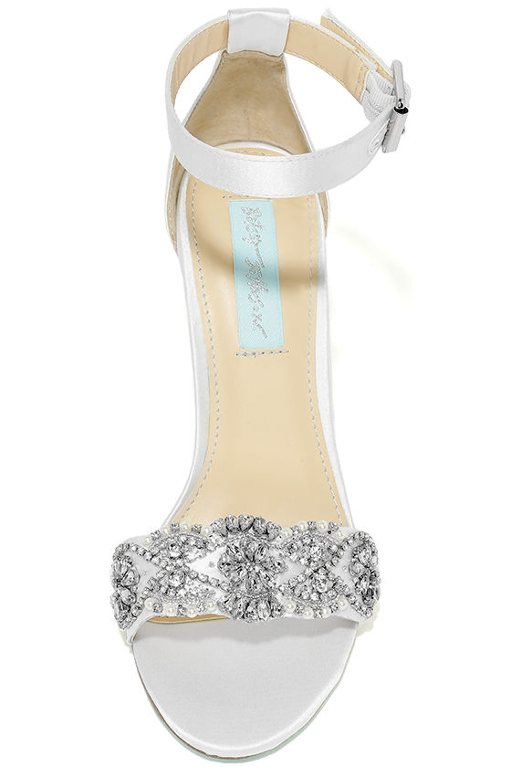 Blue by Betsey Johnson Gina Ivory Satin Ankle Strap Heels 5
