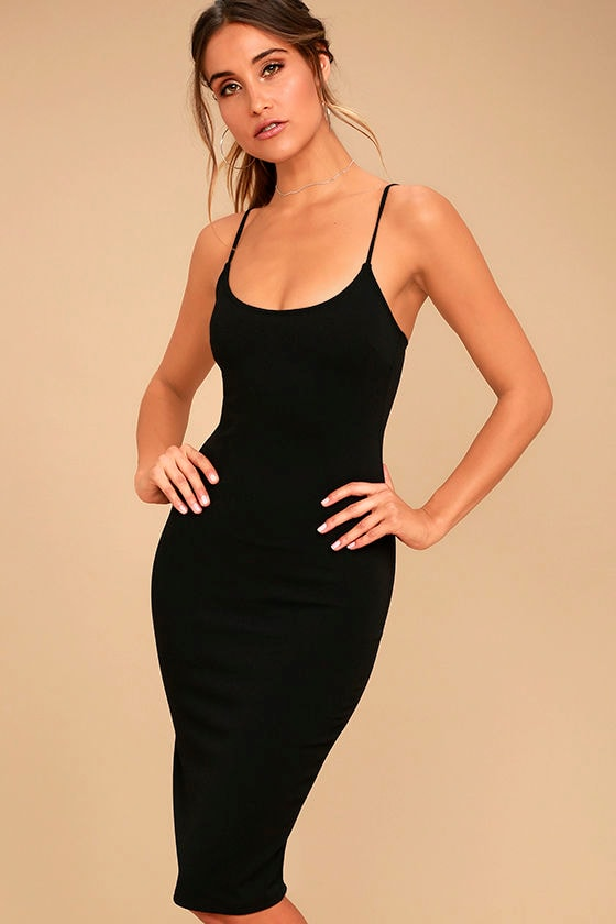 Absolutely Astounding Black Bodycon Midi Dress 1