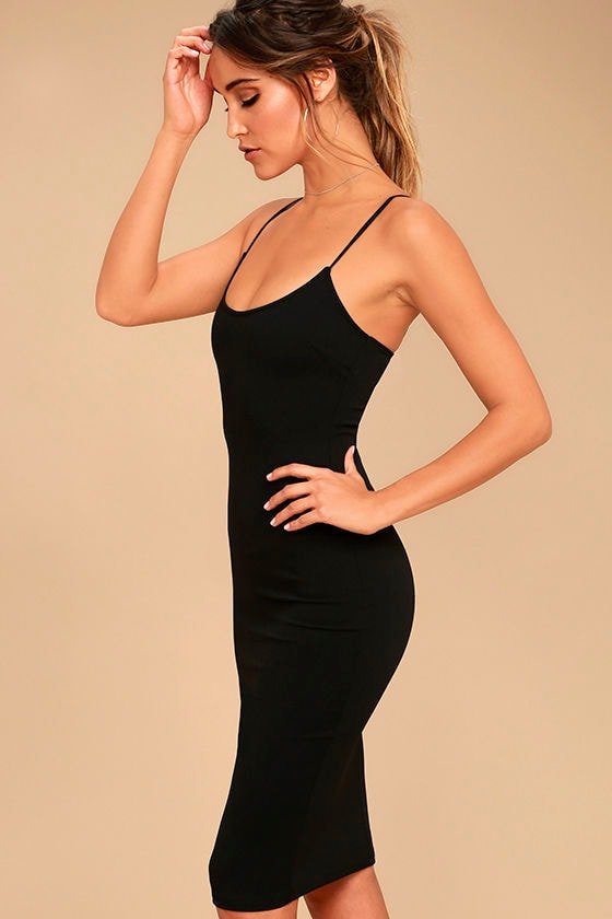 Absolutely Astounding Black Bodycon Midi Dress 3