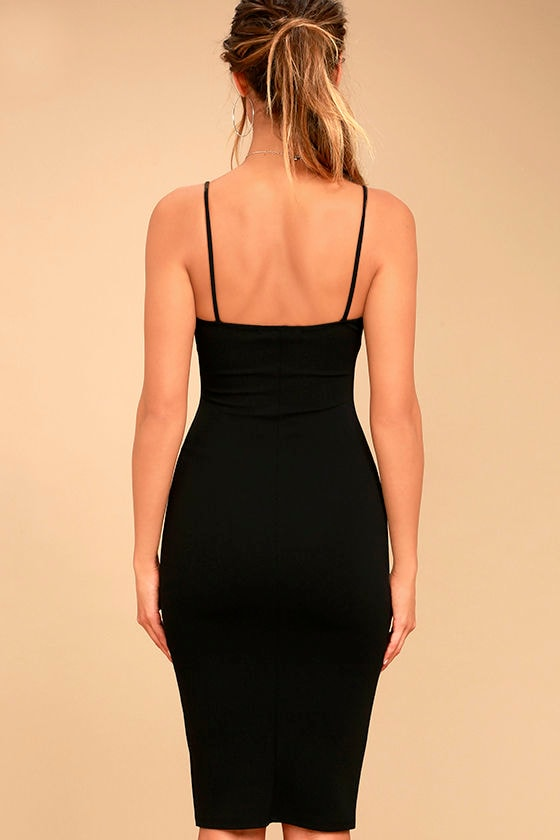 Absolutely Astounding Black Bodycon Midi Dress 4