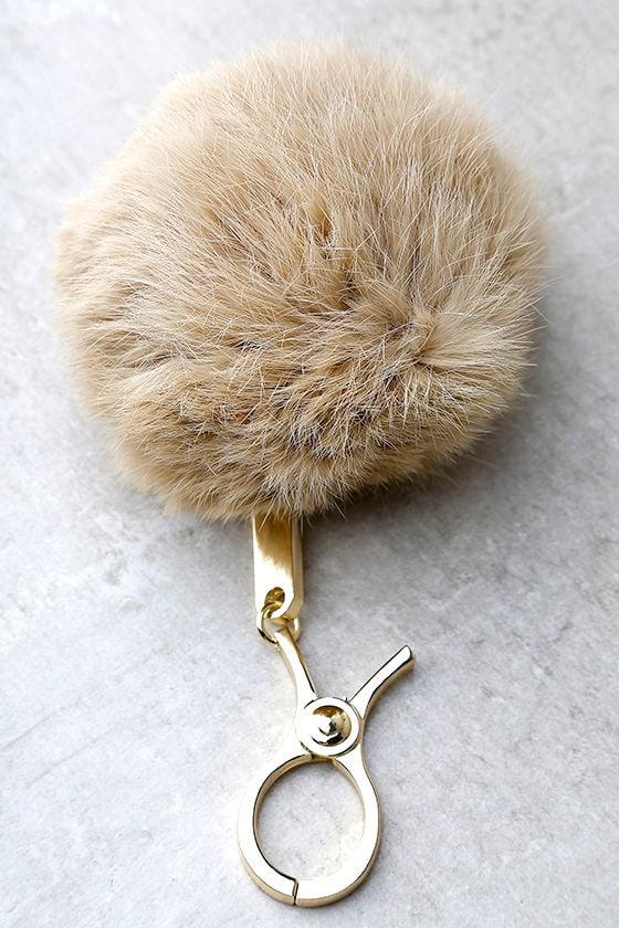9eb4e4d56c Cute Beige Pompom - Fur Pompom Key Chain - $15.00