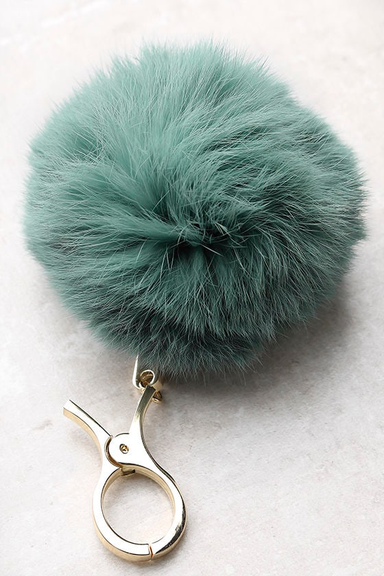 Pom and Circumstance Sage Green Fur Pompom Key Chain 1