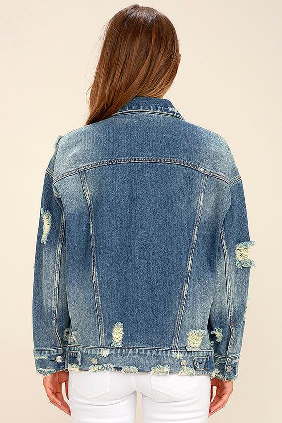 Maximum Velocity Blue Distressed Oversized Denim Jacket 5