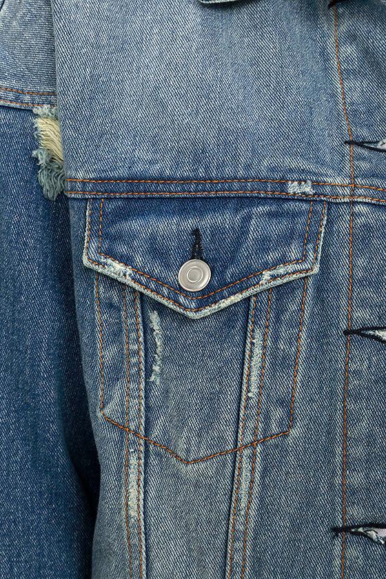Maximum Velocity Blue Distressed Oversized Denim Jacket 7
