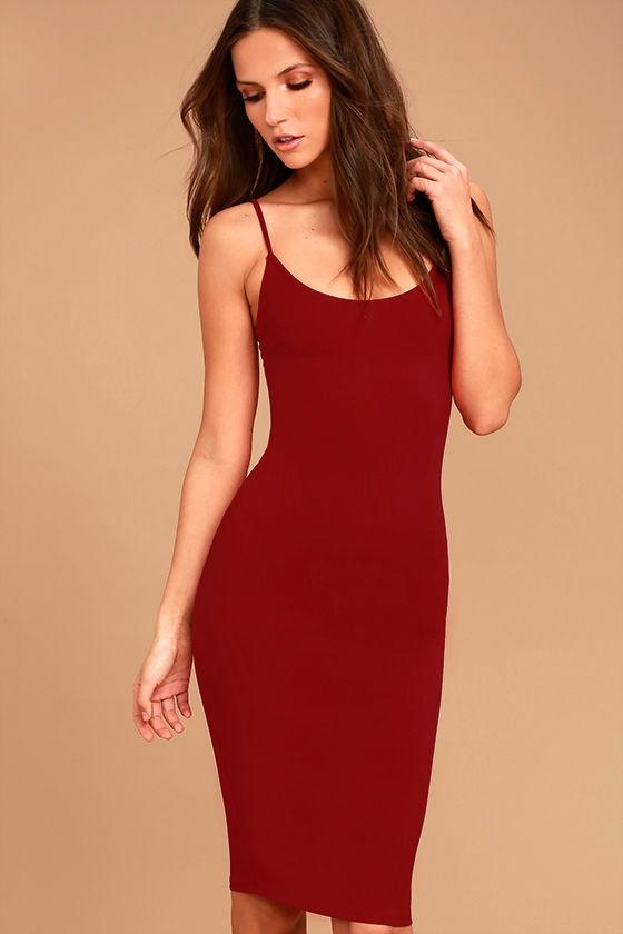Absolutely Astounding Red Bodycon Midi Dress 1