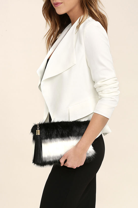 Go Fur It Black and White Faux Fur Clutch 1