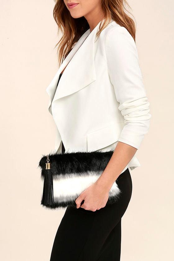 Go Fur It Black and White Faux Fur Clutch 1