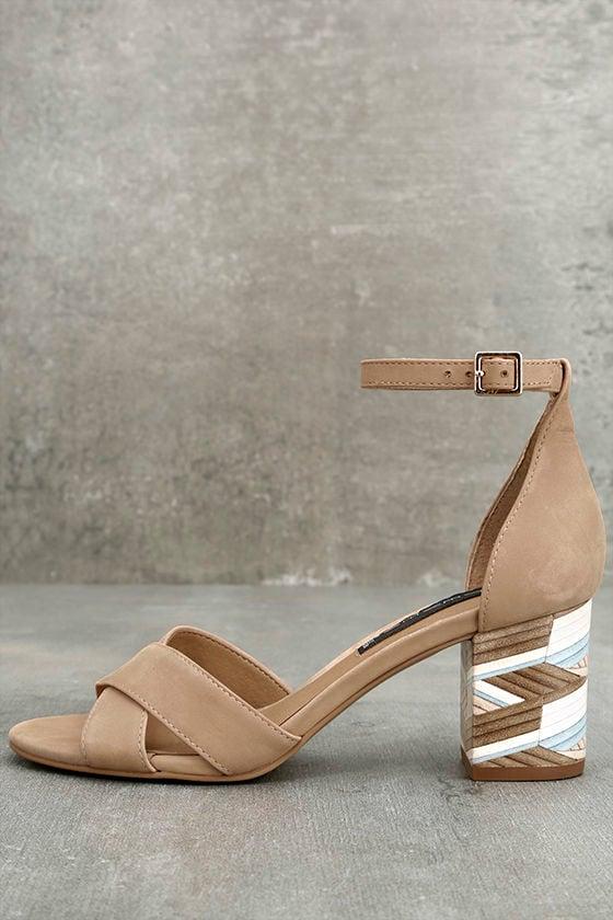 6c3f7b76f15 Steven by Steven Madden Voomme-S - Tan Nubuck Leather Heels - Ankle Strap  Heels -  119.00