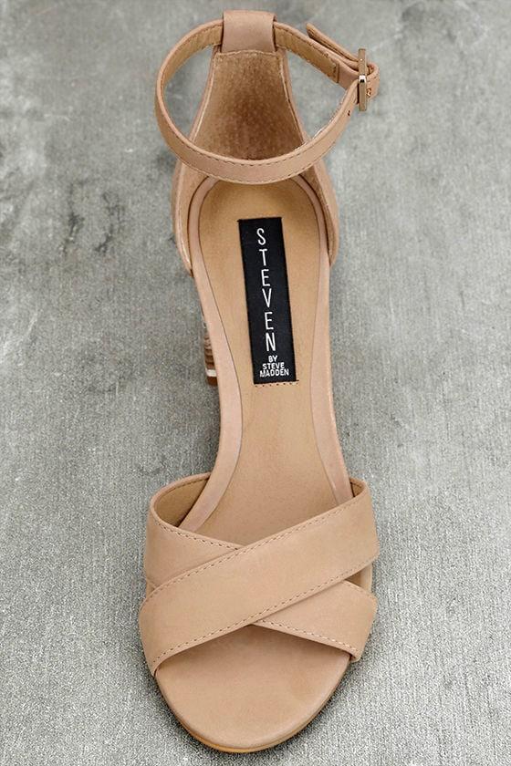 Steven by Steve Madden Voomme-S Tan Nubuck Leather Heels 5
