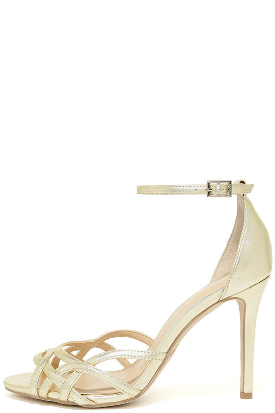 Jewel by Badgley Mischka Haskell II Gold Ankle Strap Heels 2