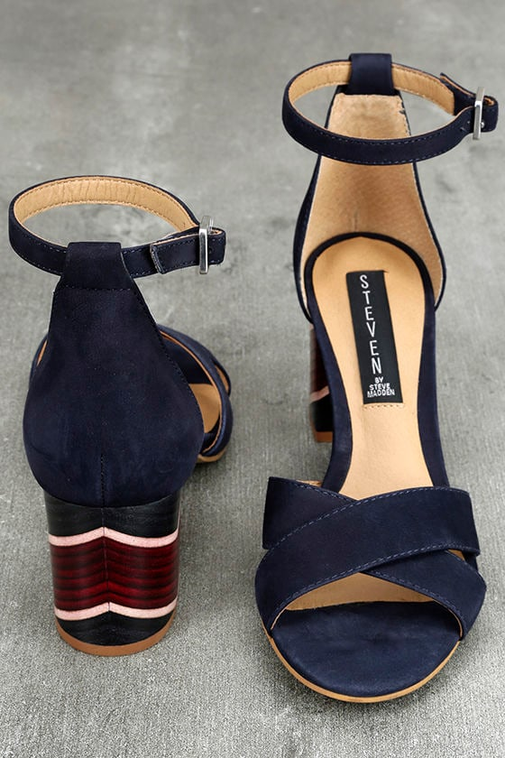 0620a572a39 Steven by Steve Madden Voomme-S - Navy Nubuck Leather Heels - Ankle Strap  Heels -  119.00