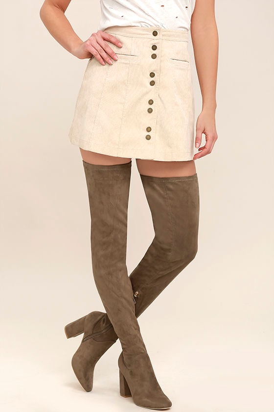 Bellatrix Taupe Suede Thigh High Boots 1