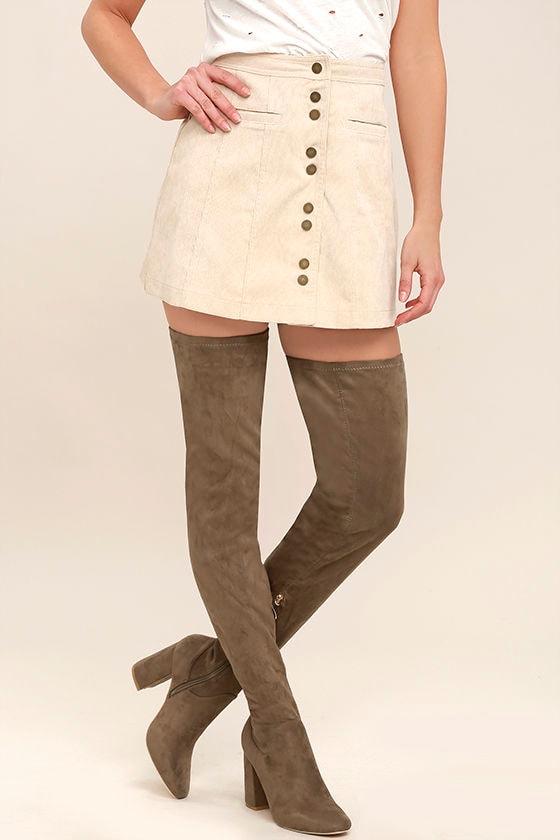 Bellatrix Taupe Suede Thigh High Boots 1