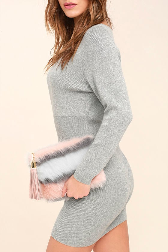 Go Fur It White and Pink Faux Fur Clutch 1