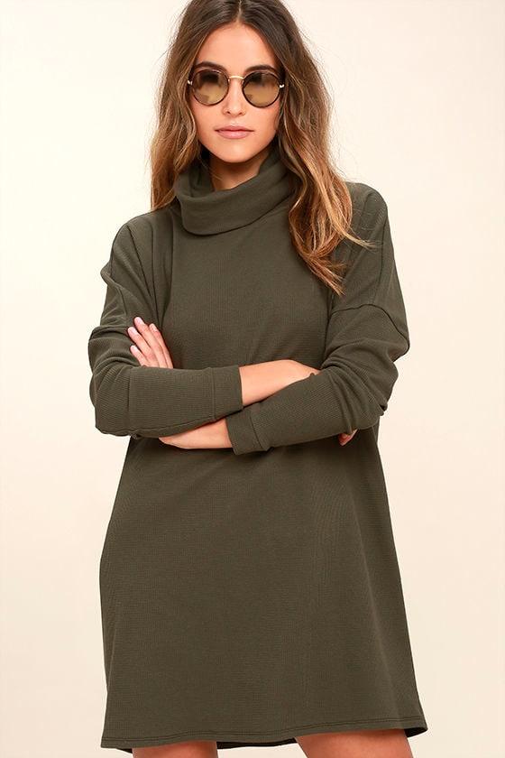 Olive Green Dress Turtleneck Dress Long Sleeve Dress