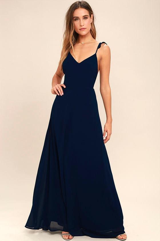 e08105ec57788 Lovely Navy Blue Dress - Maxi Dress - Sleeveless Dress - Bridesmaid ...