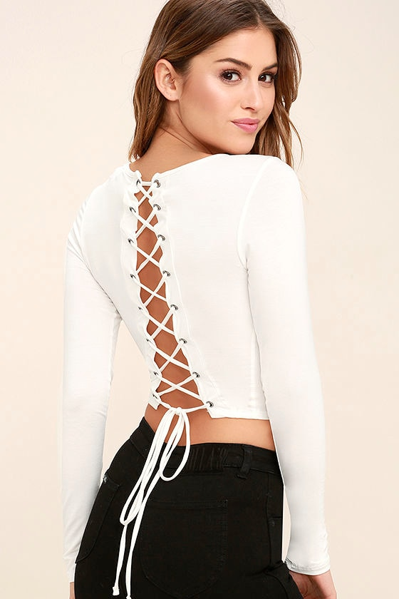 cebfeb7a682f71 Sexy White Top - Crop Top - Lace-Up Top - Long Sleeve Top -  34.00