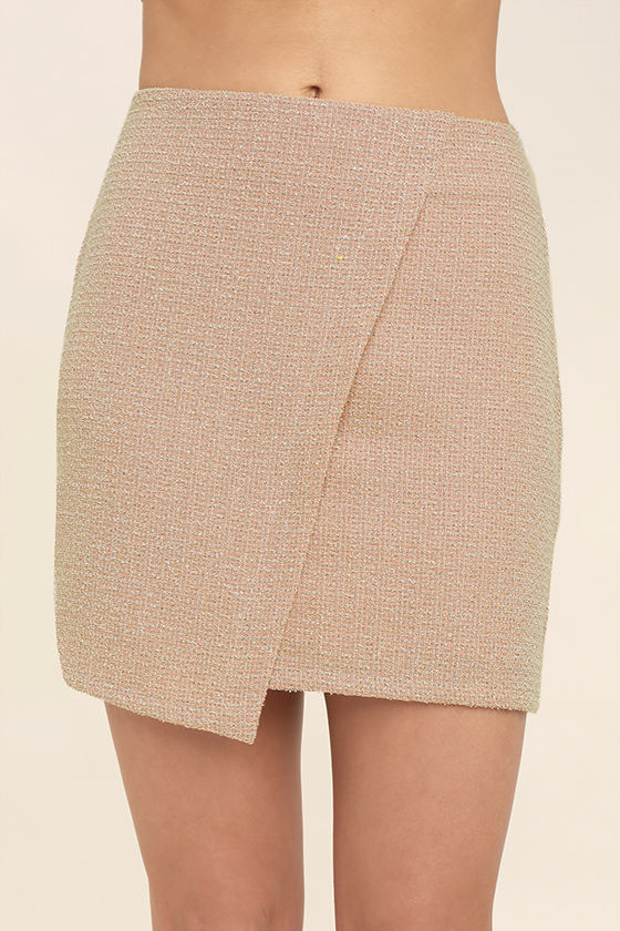 Chic Blush Skirt - Boucle Skirt - Envelope Skirt - Mini Skirt - $44.00