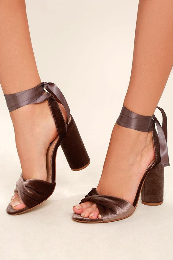 Steve Madden Clary-V Taupe Velvet Lace-Up Heels 1