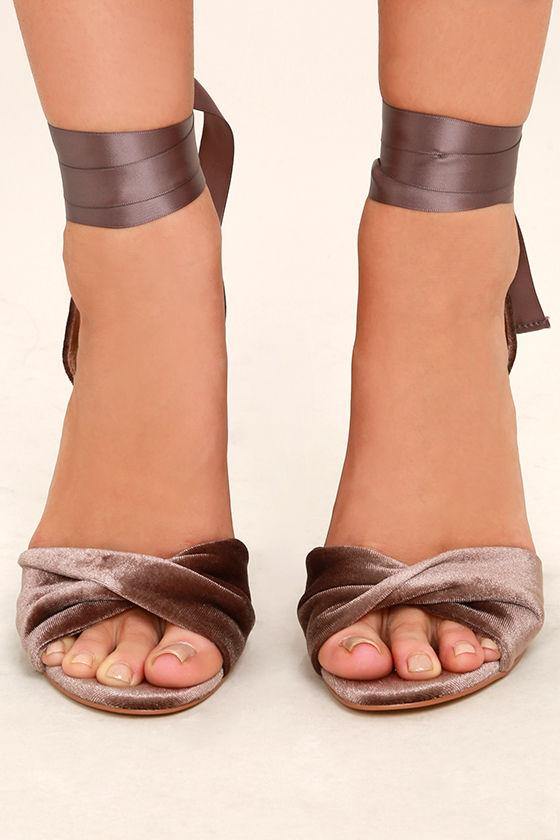 Steve Madden Clary-V Taupe Velvet Lace-Up Heels 2