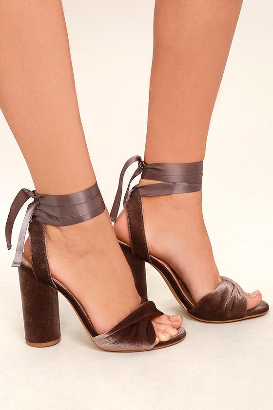 Steve Madden Clary-V Taupe Velvet Lace-Up Heels 3