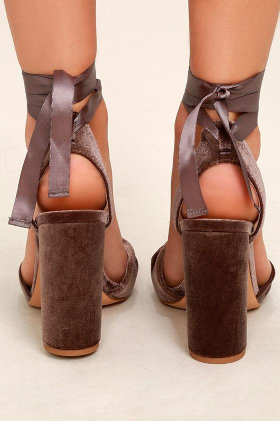 Steve Madden Clary-V Taupe Velvet Lace-Up Heels 4