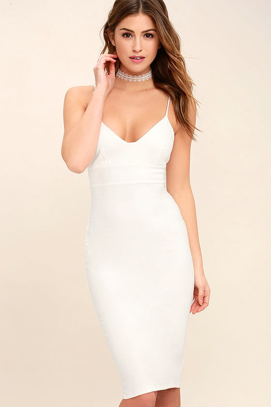Sexy White Dress - LWD - Midi Dress - Bodycon Dress - $54.00