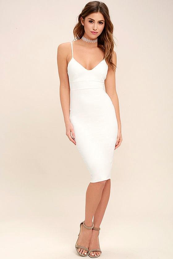 c406cf99f88 Sexy White Dress - LWD - Midi Dress - Bodycon Dress -  54.00