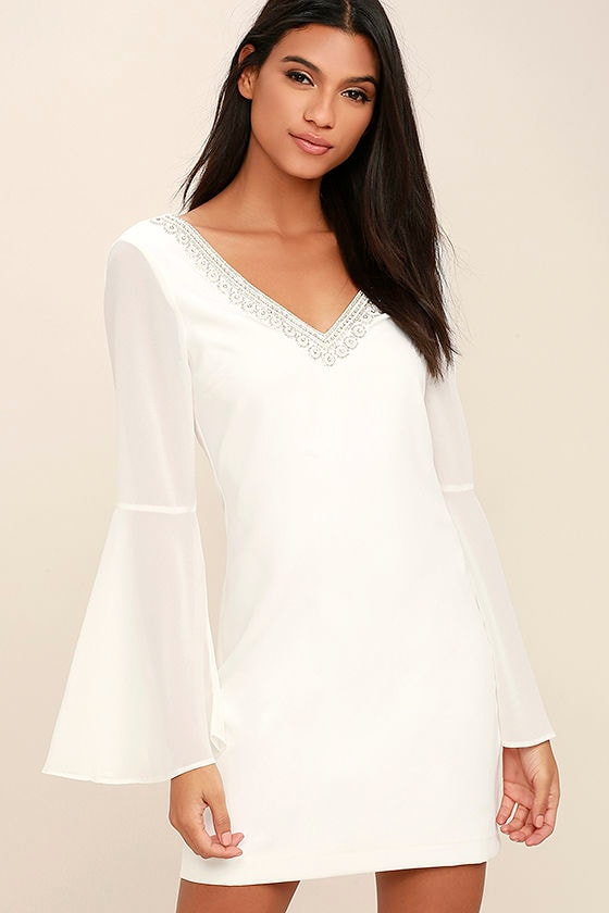 Leave the Light On White Beaded Long Sleeve Dress 1